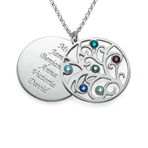 Filigree Family Tree Birthstone Necklace