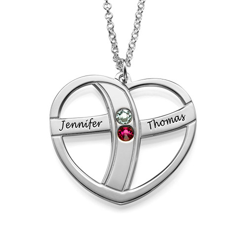 Gift for Mom - Engraved Heart Necklace with Birthstones