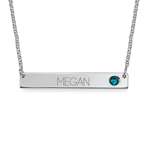 Nameplate Bar Necklace with Birthstone
