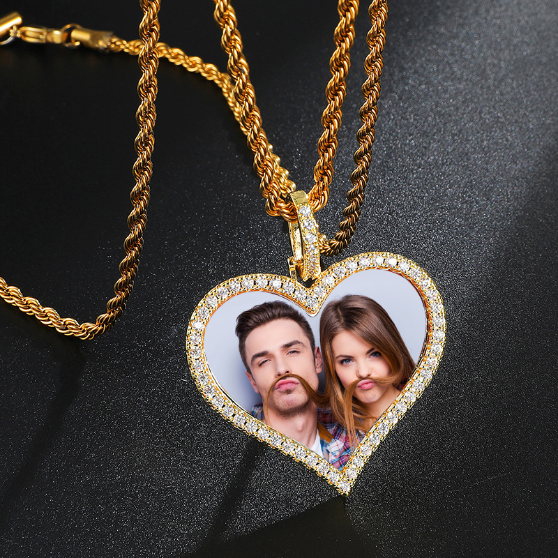 Personalized Photo Heart Zircon Necklace